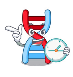 With clock dna molecule character cartoon vector
