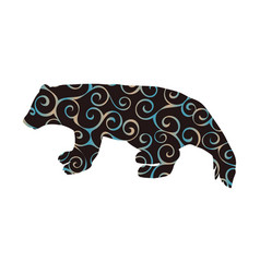 Wolverine bear wildlife spiral pattern color vector