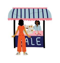 Young african american woman selling home vector