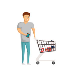 young man with supermarket trolley cart vector image