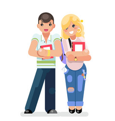 young students teen boy girl modern fashion book vector image
