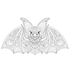 Zentangle stylized flying Bat for Halloween vector
