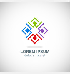 abstract square geometry colorful logo vector image