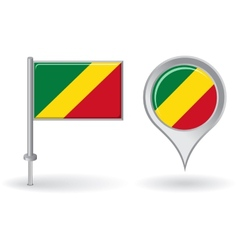 Congolese pin icon and map pointer flag vector image vector image