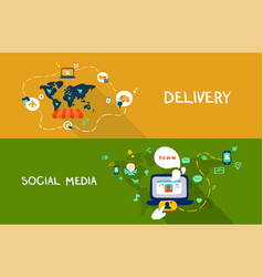 delivery and social media vector image vector image