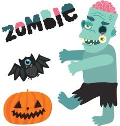 Halloween zombie monster character with pumpkin vector image