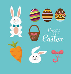 happy easter rabbit eggs day icon vector image vector image