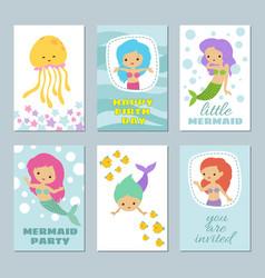 pretty baby mermaids birthday greeting card vector image vector image