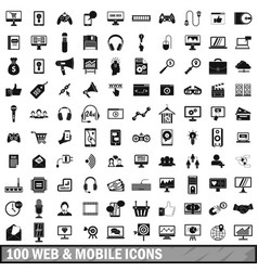 100 web and mobile icons set simple style vector image vector image