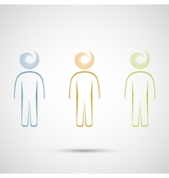 colored men on a white background vector image