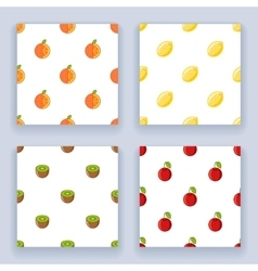 Fruit seamless pattern set icons flat design line vector image vector image