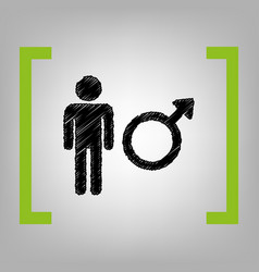 male sign black scribble vector image