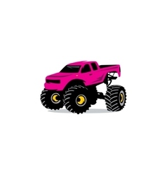 Monster Truck sign The car on big wheels and high vector image