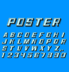 poster 3d font numbers and letters retro style vector image vector image
