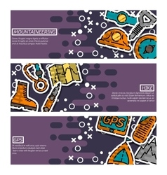 Set of Horizontal Banners about mountaineering vector image vector image