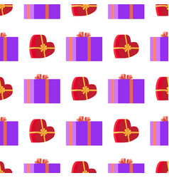 wrapping paper with red and violet gift boxes vector image vector image