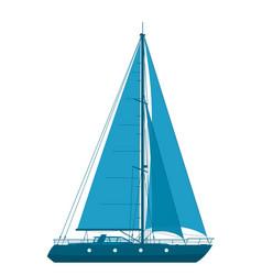 blue sailing yacht vector image