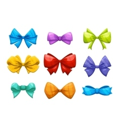 Cartoon gift bow with ribbon set for vector image vector image