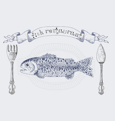 Fish restaurant banner with rainbow trout vector