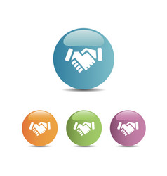Handshake icon on colored buttons vector