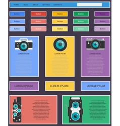 Photo video camera and multimedia equipment web vector image