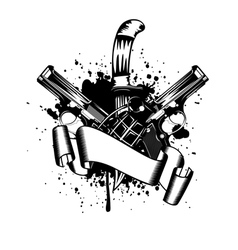 two pistols and dagger vector image vector image