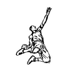 basketball player making slam dunk vector image