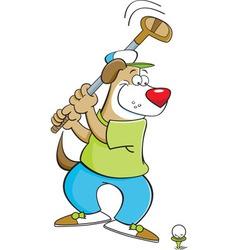 Cartoon dog playing golf vector image