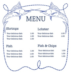 nautical seafood menu with swordfish and ro vector image