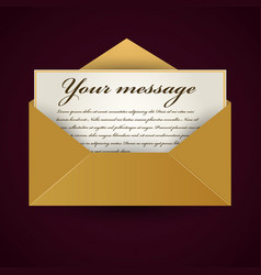 old opened envelop with letter vector image