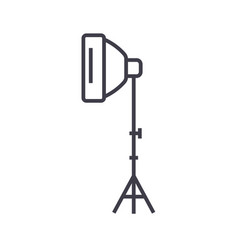 photo light with stand tripod line icon vector image
