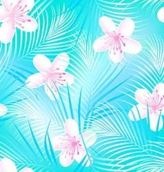 Tropical frangipani hibiscus with blue palms vector image vector image