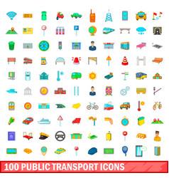 100 public transport icons set cartoon style vector image