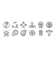 12 set linear work life balance icons thin vector