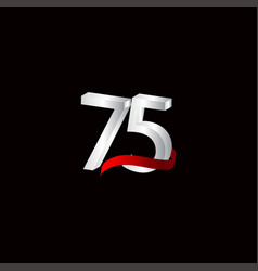 75 years anniversary celebration number black vector