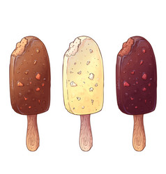 A set of three types of ice cream hand drawing vector