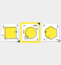 abstract geometric frame set memphis square cards vector image