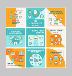 Apartment rental social media posts mockups pack vector