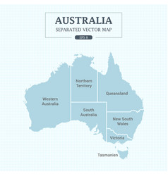 Australia map mono color high detail separated vector