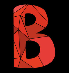 B red alphabet letter isolated on black background vector