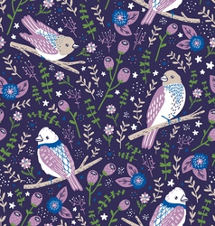 Beautiful birds and flower berries pattern in blue vector image