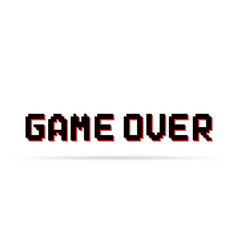 Black and red game over pixel text vector