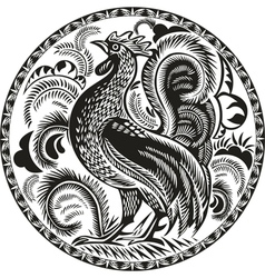 black and white rooster in a circle with pattern vector image