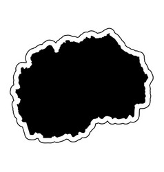 black silhouette of the country macedonia with vector image