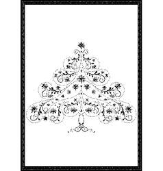 Black tracery Christmas tree with snowflakes vector image