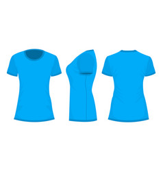 blue womans t-shirt in back front and side views vector image