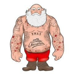 Brutal Santa Claus Bodybuilder tattoos vector image