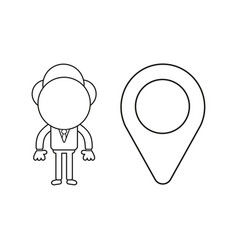 businessman character with map pointer black vector image