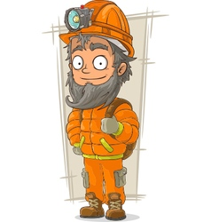 Cartoon digger with helmet and vector image