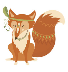 cartoon fox indian a cute vector image